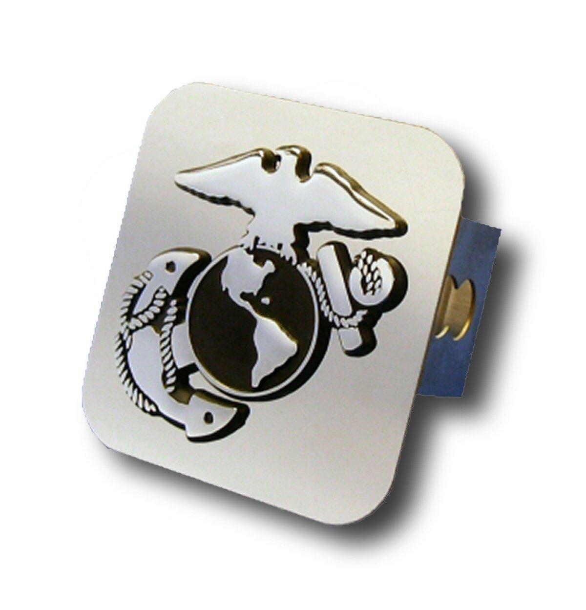 US Marine Corps Insignia Chrome Trailer Hitch Plug Auto Gold