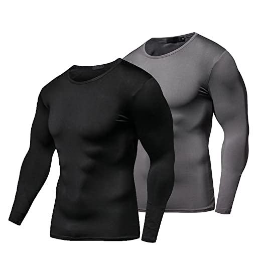 dfe8ee130d52 FITIBEST Men's Compression Baselayer Long Sleeves T-Shirt Quick Dry Top 2  Pack (Black