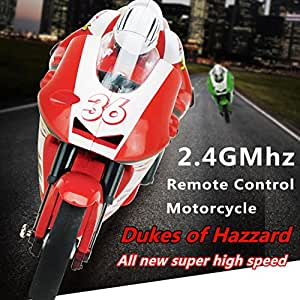 RC Remote Control Motorcycle Scooter Rider Wireless Radio Goes on 2 Wheels 2.4G 4 Channel with Built in Gyroscope 1:20 Scale for Boys Child Red