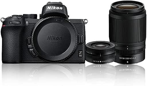 Nikon Z 50 + NIKKOR DX 16-50mm f/3.5-6.3 VR + NIKKOR DX 50-250mm f/4.5-6.3 VR Twin Lens Kit, Black (VOK050WA)