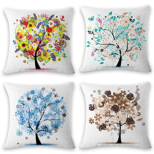 illow Covers Decorative Pillowcases 18x18inch (4 pieces set) Pillow Cases Home Car Decorative (Season tree) ()