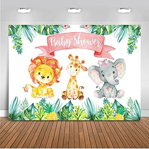 Mehofoto Safari Jungle Baby Shower Backdrop Party Animals Photography Background 7x5ft Vinyl Watercolor Animals Baby Shower Party Banner -
