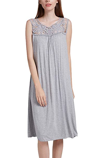 9ed6bfc441 Nightgowns for Women Sleepwear Sleeveless Sleep Dress with Floral  Embroidery V-Neck (S