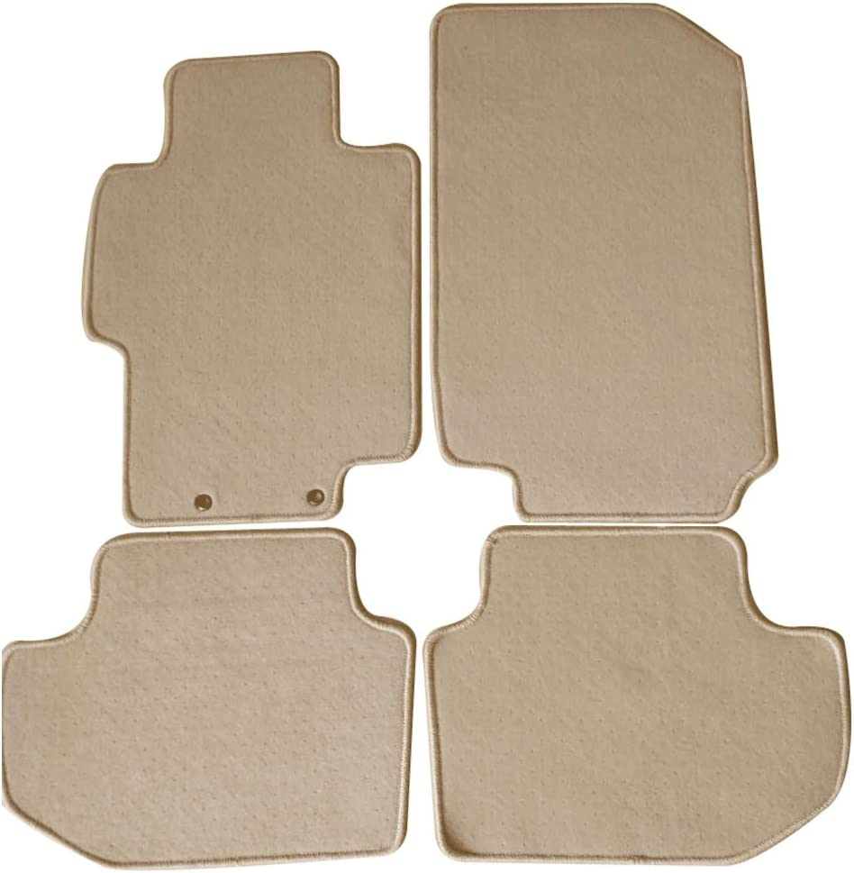 Floor Mat Compatible With 2003-2007 Honda Accord, Front & Rear Beige 4PC Nylon Car Floor Carpets Carpet liner by IKON MOTORSPORTS, 2004 2005 2006