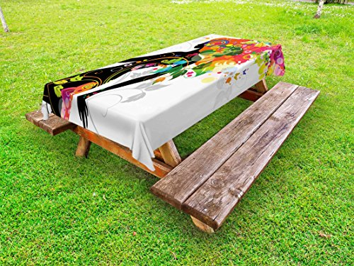 Colorful Outdoor Tablecloth by Ambesonne, Madame Butterfly Modern Version with Spring Spiral Circles Leaf Botany Girl Print, Decorative Washable Picnic Table Cloth, 60 X 120 Inches, Multicolor (Madame Butterfly Setting)
