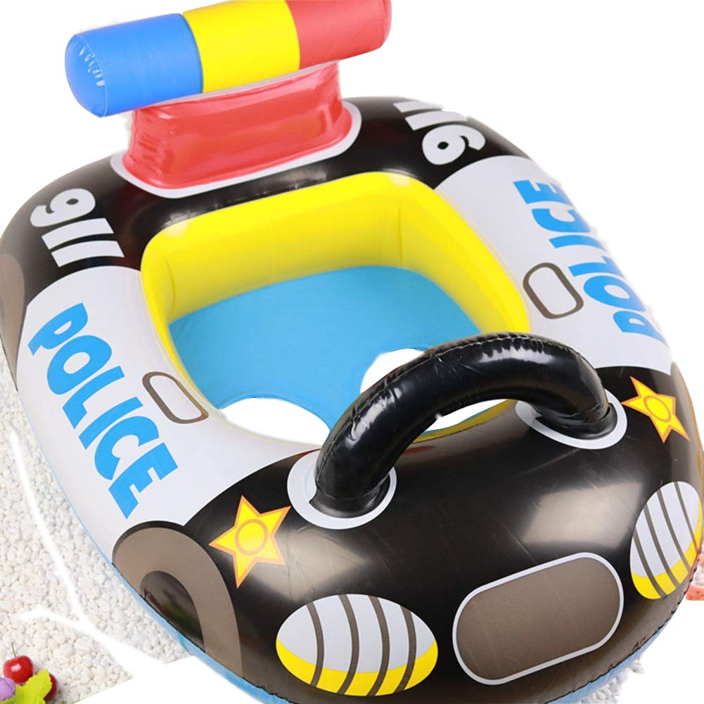 D Inflatable Swimming Float, Cartoon Print Pool Float with Steering Wheel Swim Ring Seat Boat for Kids Seaside in Summer-h
