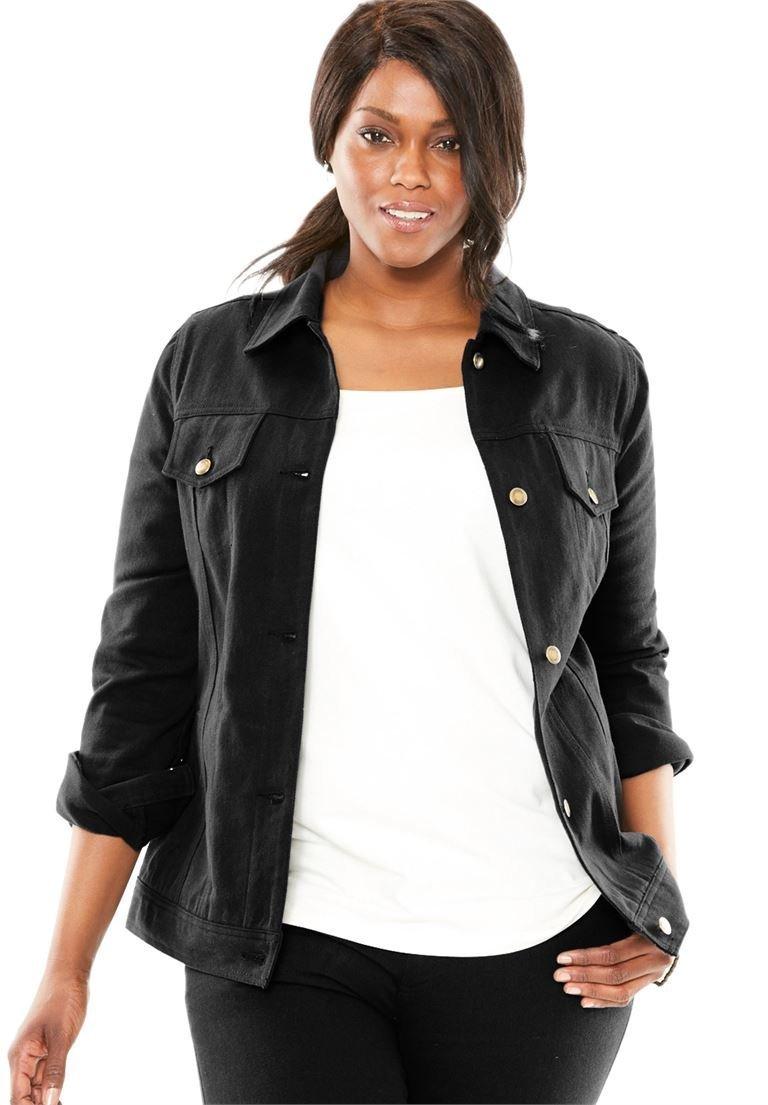 Jessica London Women's Plus Size Classic Cotton Denim Jacket Black,18