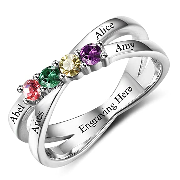 Review Diamondido Custom Mothers Rings with 4 Simulated Birthstones Personalized Names Grandmother Promise Rings for Women