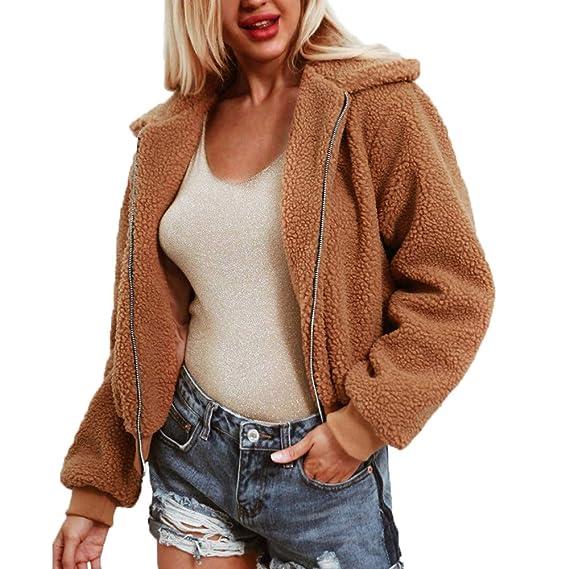 online store 014f2 6bd94 Longra Mode Damen Wintermantel mit Reißverschluss Revers ...