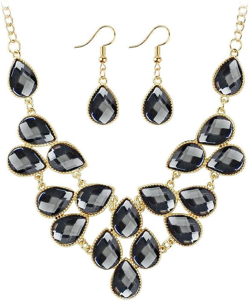 MEEOI exageración de la moda Ear Stud Earrings Ear Hoop 925 de plata esterlina para mujer, juego de collar de piedras preciosas con diamantes metálicos Gotas Pendientes