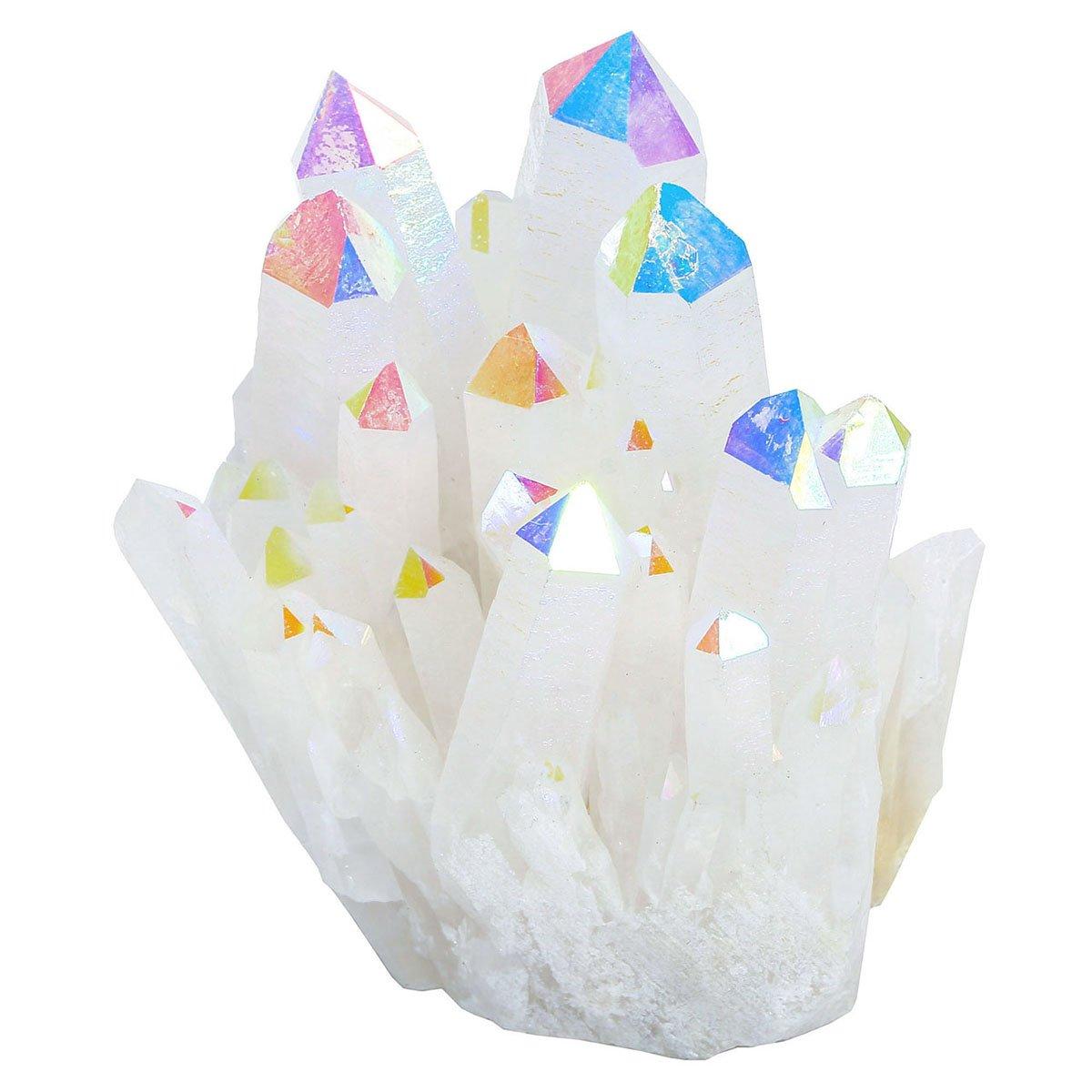 CrystalTears Rock Quartz Titanium Coated Blue Crystal Cluster Geode Druzy Specimen 1.85-2.5 Home Decor Ornaments