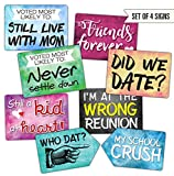 Plastic Photo Booth Prop Signs - Set of 8 Phrases - REUNION Mix