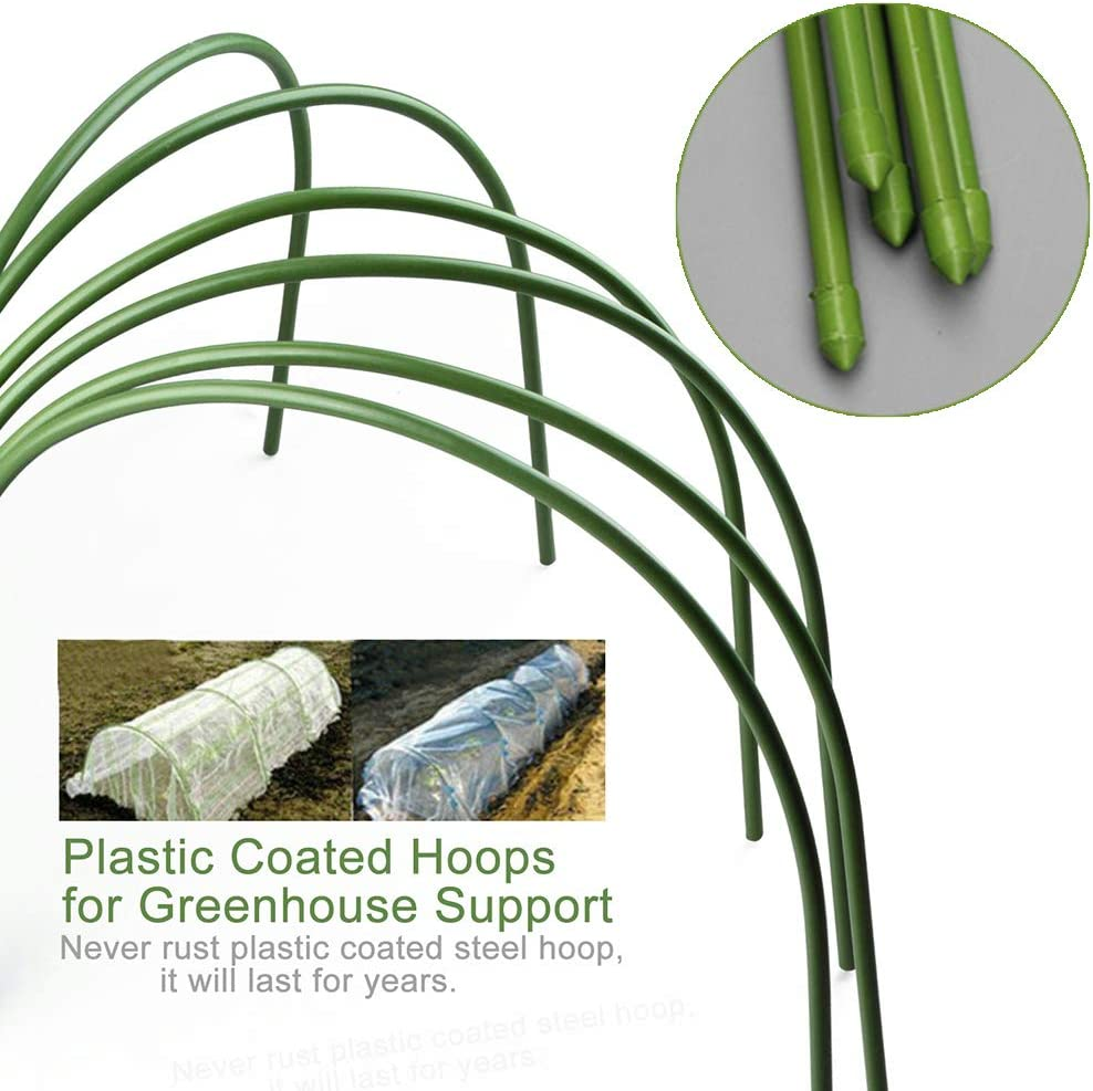 Steel Tunnel Greenhouse Frame with Anti-Rust Plastic Coated 23.6x23.6 Mokyler Greenhouse Hoops Garden Tunnel Hoop Arched Garden Stakes for Netting Covers Raised Bed