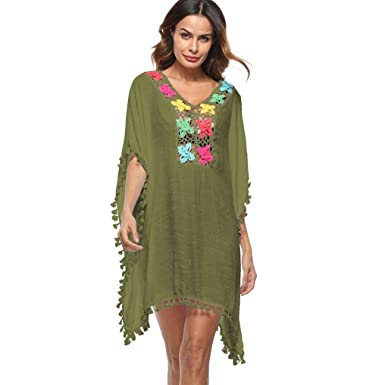 6605b26133fd8 Women Ladies Beach Bikini Swimsuit Cover Ups Plus Size Mingfa Summer Loose  Tassel Floral Swimwear Beachwear Dress Smock (Army Green, ...