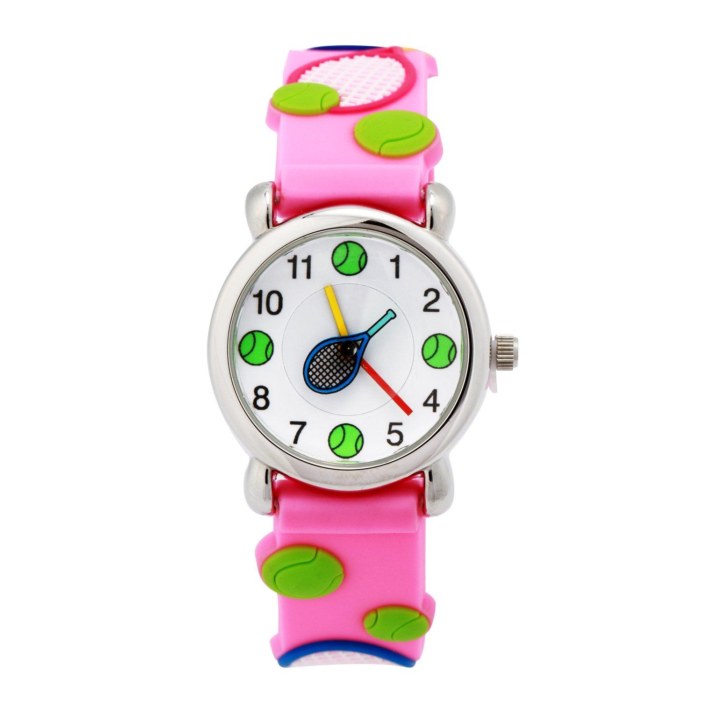 数量は多 時間を教えるのに最適 シリコンバンド付き 3d かわいいイラスト入りクォーツ腕時計 Eleoption 小さな女の子 男の子 お子様への贈り物に Tennis Pink Tennis Pink B076bm713j Tournamentofroses Com