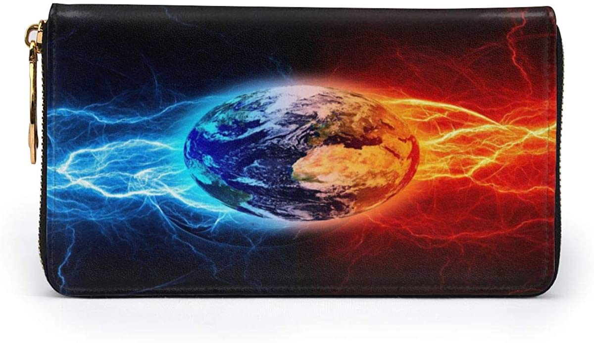 Fire Ice Earth Leather Clutch Waterproof Card Holder With Zipper Large Capacity Wristlet Wallet Durable Envelope Clutch Portable Purse Daily Using
