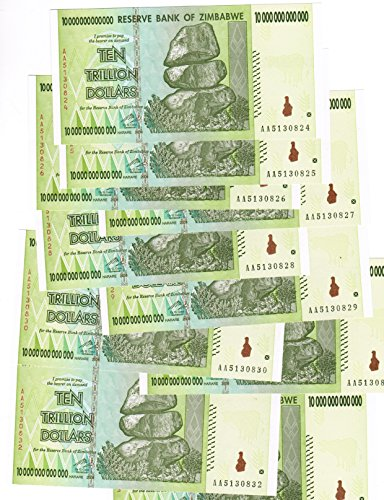 Zimbabwe 100 Trillion Dollars (Ten $10 Trillion Dollar Notes)