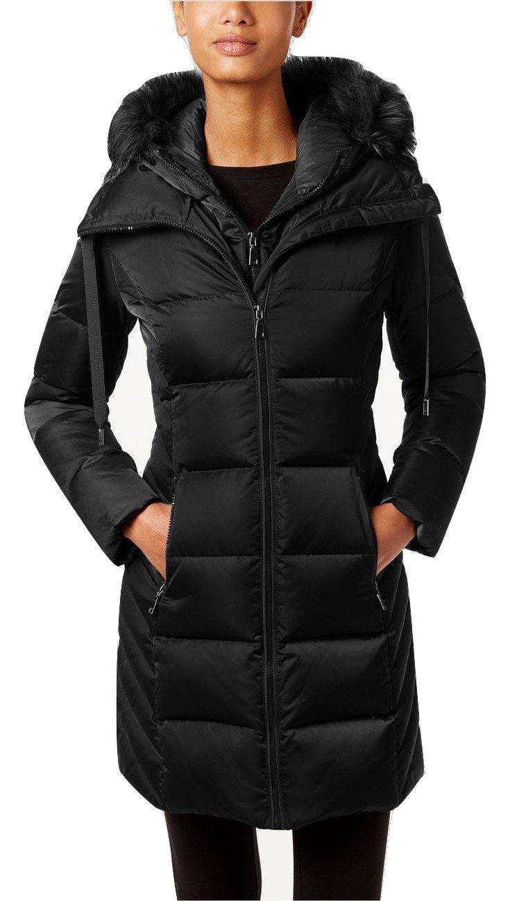 T Tahari women's Dana Faux-Fur-Trim Hooded Puffer Coat (XS)