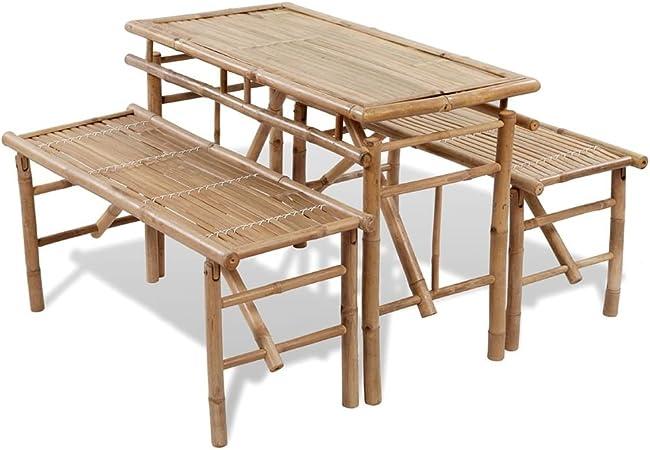 vidaXL Set plegable de mesa bambú con 2 bancos para picnic: Amazon ...