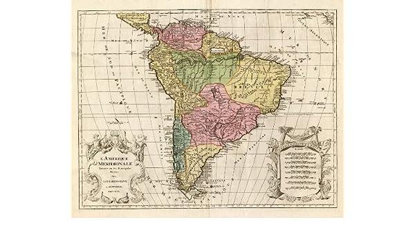 Amazon.com: Antique Map-SOUTH AMERICA-BRAZIL-CHILE-MEXICO-Elwe-1792 ...