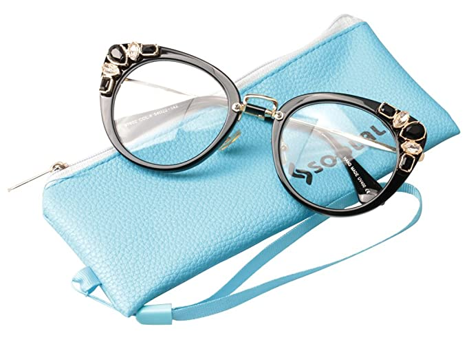 b748cb2eae75 SOOLALA Womens Luxurious Colorful Rhinestone Cateye Reading Glasses  Eyeglass Frame