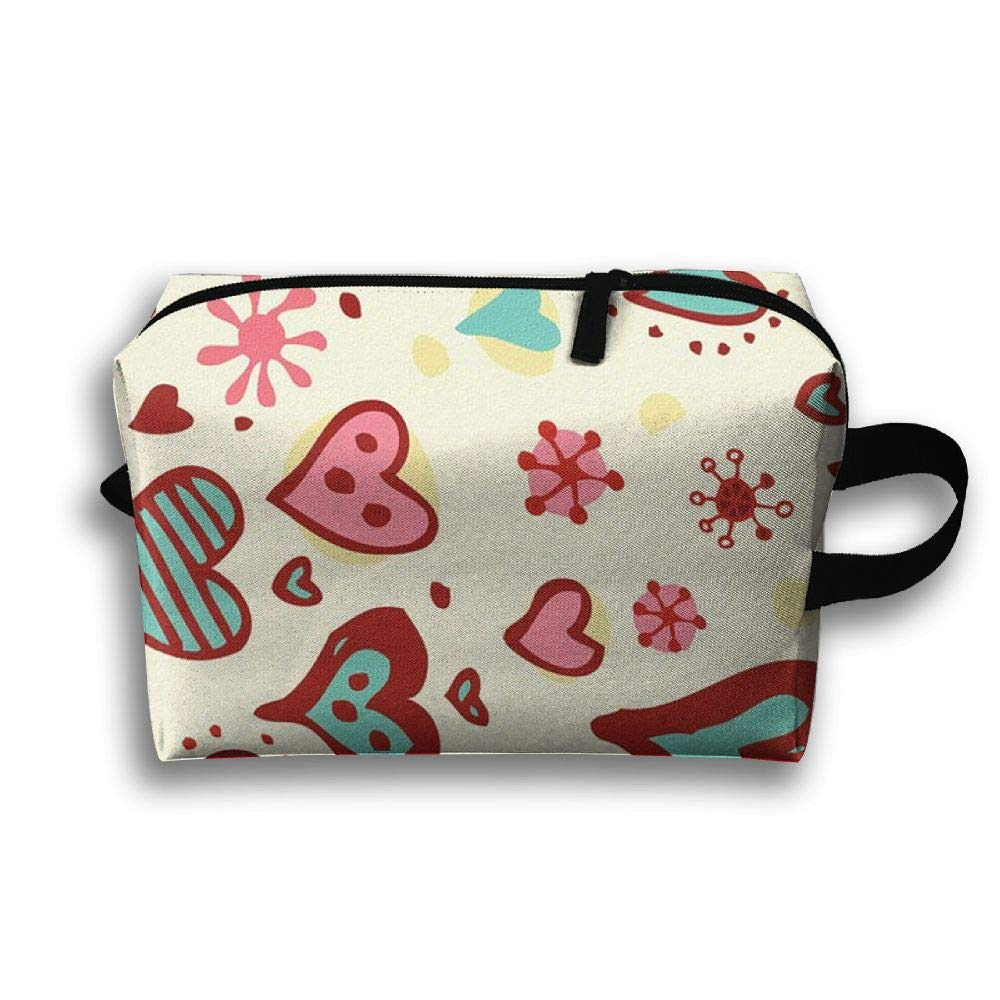 Cartoon Love Heart Cosmetic Bags Makeup Organizer Bag Pouch Zipper Purse Handbag Clutch Bag