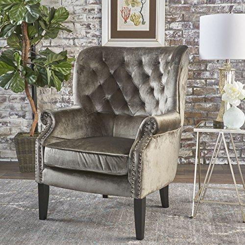 Christopher Knight Home 301260 Tomlin Velvet Club Chair, Grey