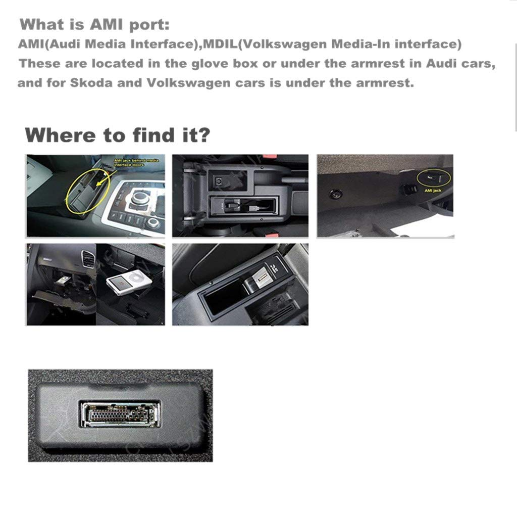 MDI MMI Adaptateur Compatible pour iPXs XS Max X XR 8 7 pour Audi A3 A4 Q5 VW Jetta Passat Skoda AMI Audio AUX Cable Power Music Car Interface