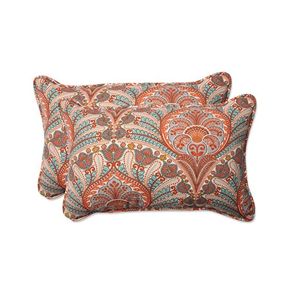 Pillow Perfect Outdoor / Indoor Crescent Beach Cayenne Rectangular Throw Pillow (Set of 2) - Includes two (2) outdoor pillows, resists weather and fading in sunlight; Suitable for indoor and outdoor use Plush Fill - 100-percent polyester fiber filling Edges of outdoor pillows are trimmed with matching fabric and cord to sit perfectly on your outdoor patio furniture - living-room-soft-furnishings, living-room, decorative-pillows - 61AmyONRvpL. SS570  -