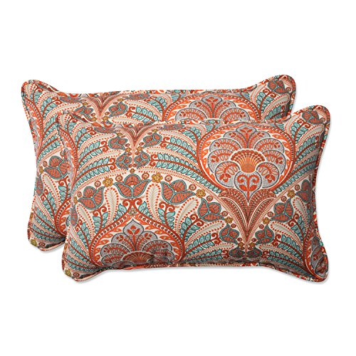 Pillow Perfect Outdoor / Indoor Crescent Beach Cayenne Rectangular Throw Pillow (Set of 2)