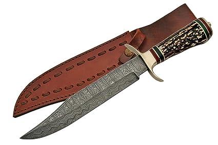 Amazon.com: szco Suministros Bowie Damasco Cuchillo De Caza ...