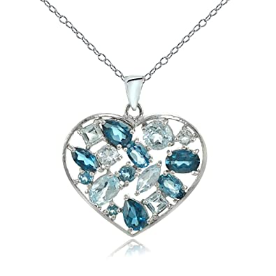88037e7b4 Image Unavailable. Image not available for. Color: Sterling Silver London  Blue & Blue Topaz Cluster Heart Tonal Necklace