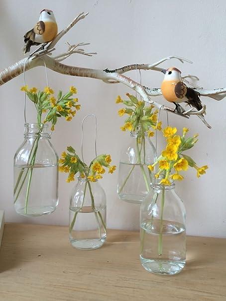 Unique Set of Four Vintage Hanging Glass Bottles Small Mini Bud Vase  HM24
