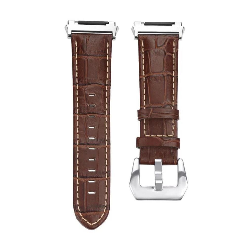 Shuwe高級レザーバンド交換用アクセサリーリストバンドストラップfor Fitbit Ionic ブラウン ブラウン B0775KRBC5