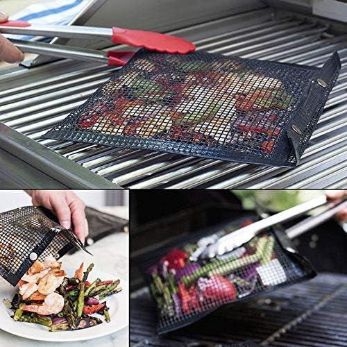 Timagebreze 2 PièCes SéRies AntiadhéSif Barbecue Maille RéUtilisable TéFlon Griller Filet Facile à Nettoyer Tapis de Barbecue avec 2 Brosse en Silicone