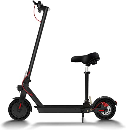 Hiboy S2 Electric Scooter With Seat 8 5 Solid Tires Up To 17 Miles 18 6 Mph Folding Commuting Scooter For Adults With Double Braking System