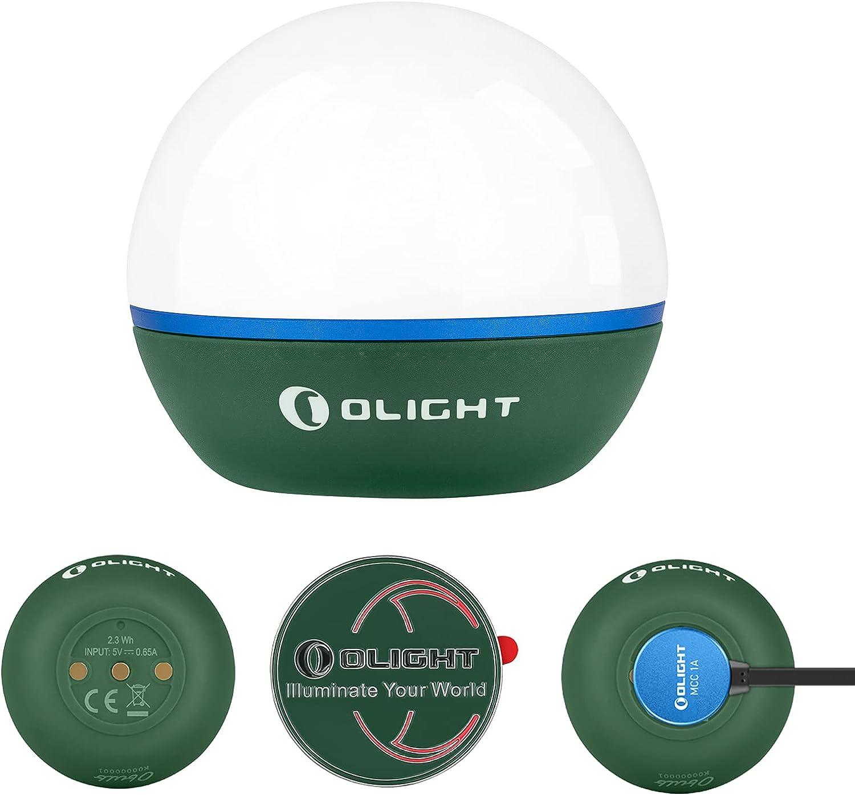 Olight obulb bleu avec monnaie et câble de charge et Brea Torche diffuseurs