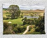 Ambesonne Hobbits Tapestry Wall Hanging, Overhill Matamata New Zealand Hobbiton Movie Set Hobbit Land Village Movie Set Image, Bedroom Living Room Dorm Decor, 60 W X 40 L inches, Green Brown