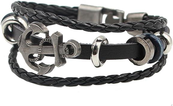 Pulsera Ancla Cuero , Estilo Vintage Pulsera Ancla Para Hombres Mujeres , Cable Cuerda Ajustable Brazalete – Haoxuan (Negro): Amazon.es: Deportes y aire libre