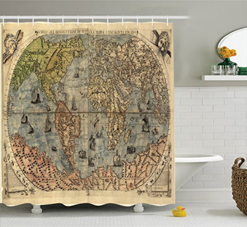 Ambesonne Antique Decor Collection, Ancient Map of World Global History Stained Paper Oceans Lands Atlas Educational Art, Polyester Fabric Bathroom Shower Curtain Set, 75 Inches - Collection Atlas