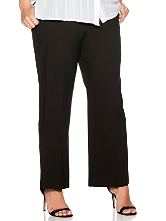 ac41f5a315e M Co Ladies Plus Size Bi-Stretch Slim Fit Bootcut Black Work Trousers Black  18 Regular