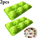 Justdolife Fondant Making Mold Reusable Silicone 6 Grids Bunny Shape Soap Mold for Easter