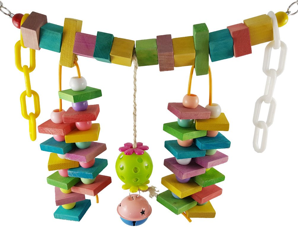 Eternal-you Large Parrot toysLarge Size Colored Bird Toys, Cotton Rope Blocks, Gnawing Parrot Gnawing Toys.280g