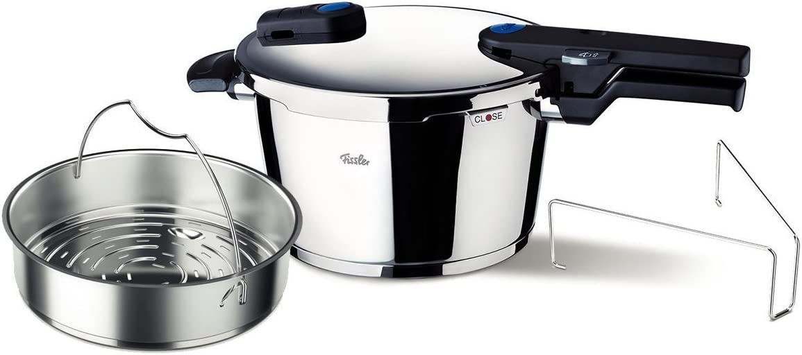 Fissler vitaquick Pressure Cooker Set of 4 with Insert and Tripod Induction, 10qt, Stainless Steel