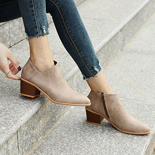 35 Ladies Casual Shoes Low Block Lace Heeled Chunky Heel 5Cm Comfortable Flat Winter Ankle Khaki 43 Blue SoonerQuicker Leather Women RvqxwzpTS