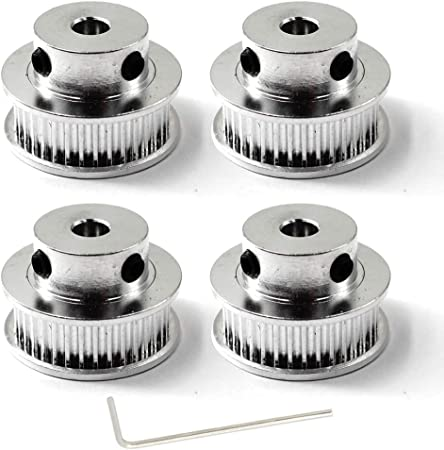 Wrench Included GT2 Timing Belt Pulley 48 teeth 5mm Bore For 3D Printer CNC 6mm Width Belt Pack of 4