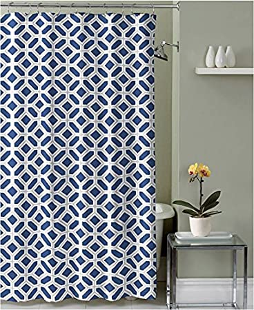 Navy Blue Taupe White Fabric Shower Curtain: Geometric Design