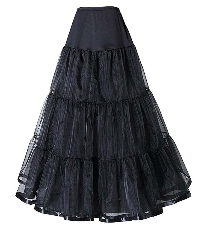 V.C.Formark Retro 50' A-line Half Slip Floor-Length Underskirt Petticoat Tulle Skirt Women Black VC-PS-QC04-BL