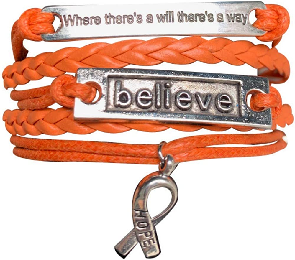 ADHD Where There is a Will There is a Way Leukemia Awareness MS Awareness Malnutrition Awareness Kidney Cancer Awareness Jewelry Orange Ribbon Bracelet Self Injury