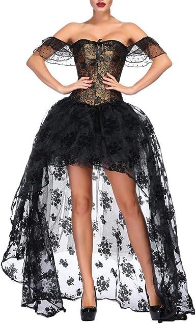 CLOOM Mujer Vestidos Negros Encaje Largos Sexy Elegante Falda De ...